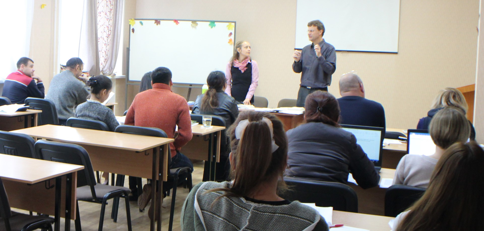 Tim McMahon teaching at the Eurasian Bible Mission College in Kazan Tatarstan, Russia